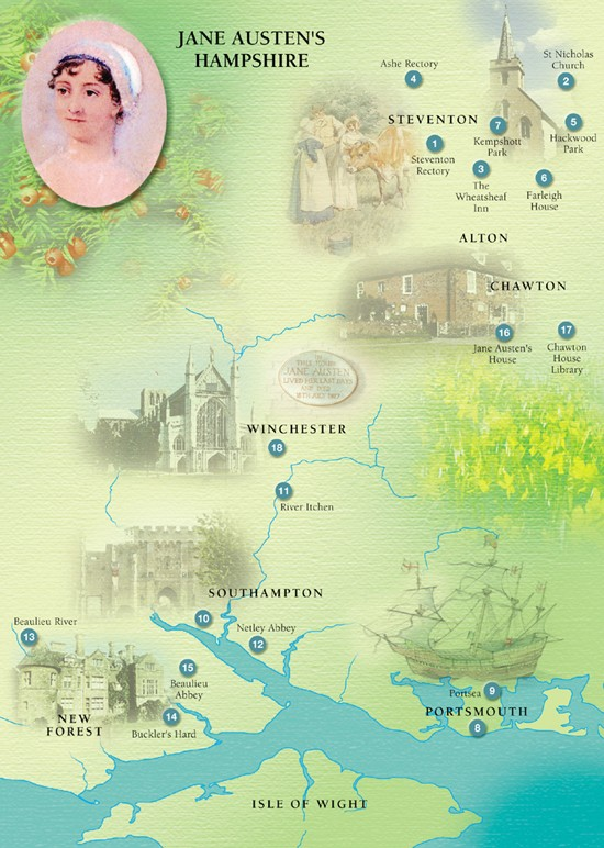 Map of Jane Austen's Hampshire